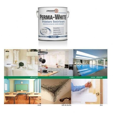 ZINSSER PERMA-WHITE SATIN 1L - 3.75L - 10L - MATHYS
